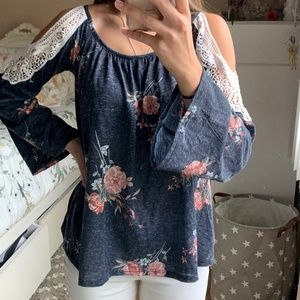Cold Shoulder Floral Top with Lace Detail